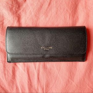 Coach Envelope Style Black Leather Wallet